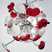 De Majo Cosmospora K14 red & white glass chandelier