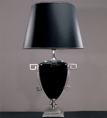 Luxury black crystal table lamp with shade