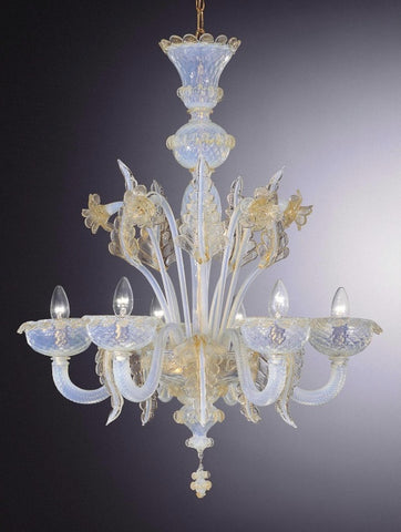 Opaline 6 light Murano Chandelier