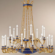 Tiered Chandelier in Gold with Blue detailing