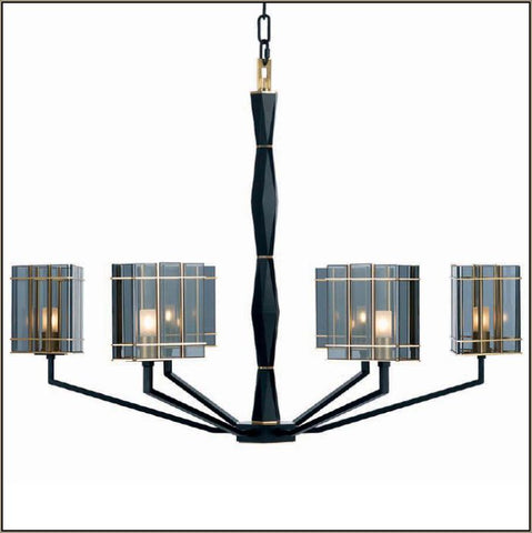 Luxury smoked glass chandelier with gold detail