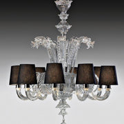 8 Arm Murano glass chandelier with black shades