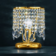 Beautiful gold table lamp with lead crystal pendants