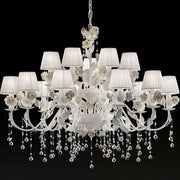 Beautiful 15 light chandelier with hand-painted roses