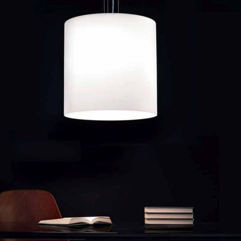 Celine satin white glass pendant from Leucos