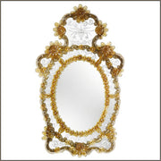 Oval Venetian wall mirror with coloured Murano glass detail