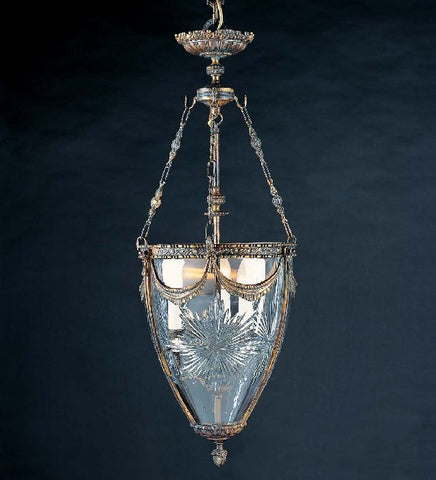 3 Light Brass Lantern with Crystal Glass
