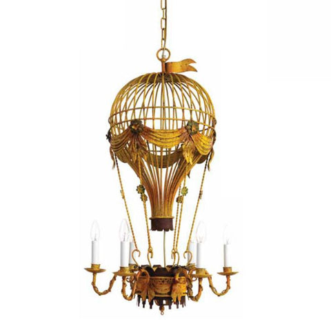 Hot air balloon mid-century-style chandelier