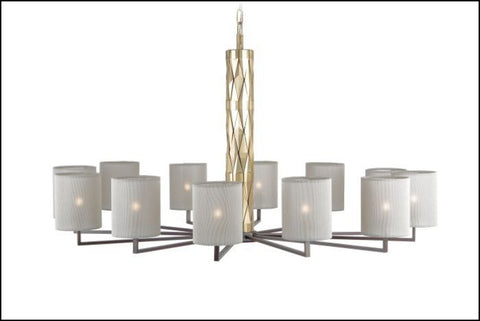 Modern boutique-style cartwheel chandelier with 12 shades