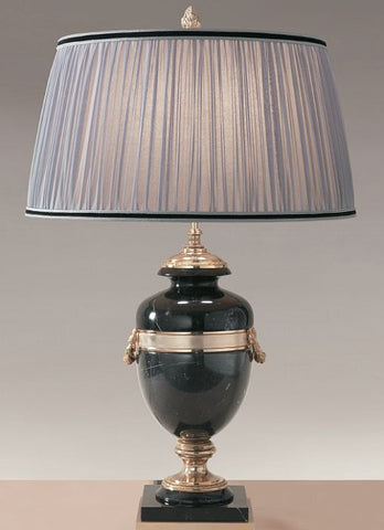 Black marquinia marble table lamp with soft grey chiffon shade