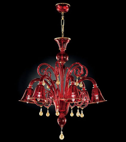 Red murano glass chandelier red venetian style 6 light classic red murano glass chandelier with 6 bell shaped lights aloadofball Images