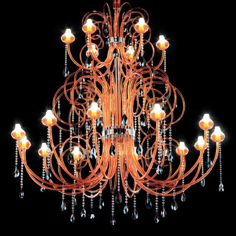 Large 2-tier Murano glass custom colour chandelier