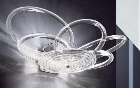 Clear spun glass modern wall light from Italy