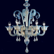 Opalescent 6 arm Murano glass chandelier