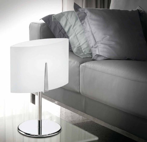 Small white opalescent glass table light