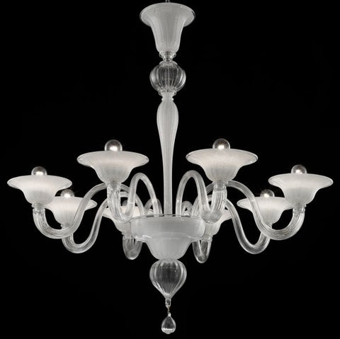 Elegant white Murano glass chandelier in 9 sizes