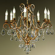 Strung Crystal Golden Chandelier