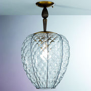 Murano clear glass baloton ceiling light with gold leaf base