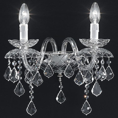 Traditional Italian nickel-plated lead crystal 2 light wall lamp