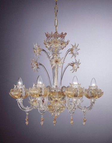 Murano crystal chandelier with gold accents