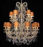 15 Light Chandelier with Amber Shades