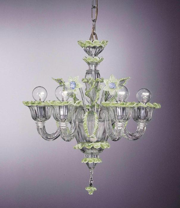 Murano  crystal chandelier with green and blue flowers