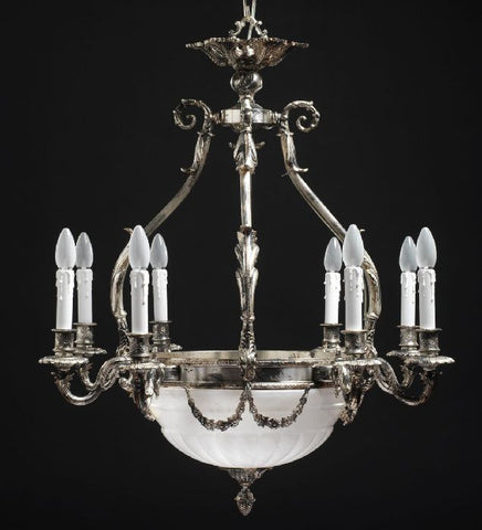 French gold chandelier with cut-glass bowl