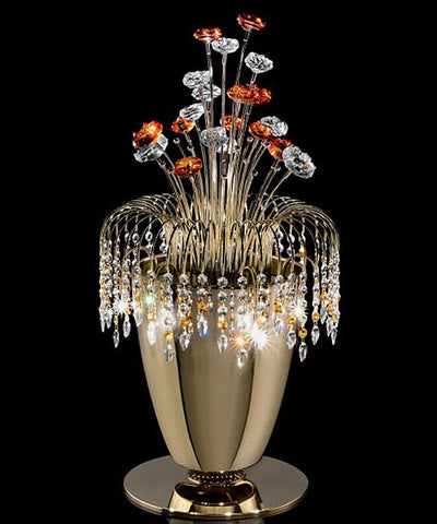 Gold Swarovski table lamp with amber Murano glass flowers