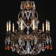 15 light French gold chandelier with crystals