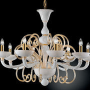 White Murano glass 8 light chandelier with gold leaf curls