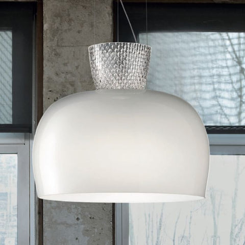 Modern milk white and Murano baloton glass ceiling pendant