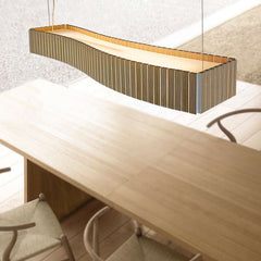 Natural plywood dining table and island ceiling light
