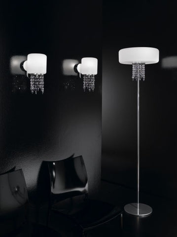 Large milky-white glass and Swarovski crystal floor light