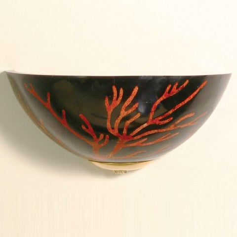 Black and coral mosaic wall light with gold plate fitting