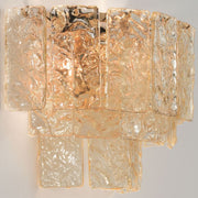 Modern mid-century martellato glass wall light