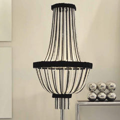 Black and or white  floor chandelier with velvet trim