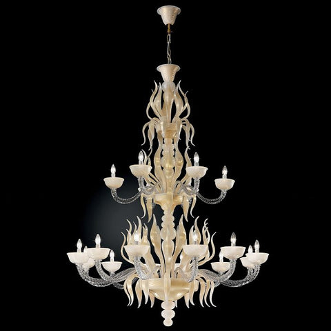 18 light ivory and raw silk coloured Murano glass chandelier
