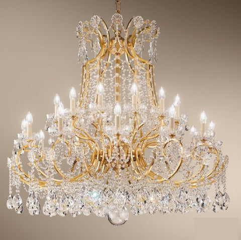 Magnificent 24-arm Chandelier with Bohemian Crystals