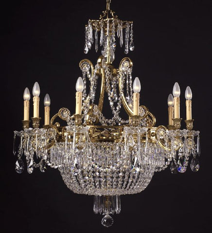 French gold chandelier with crystal beads