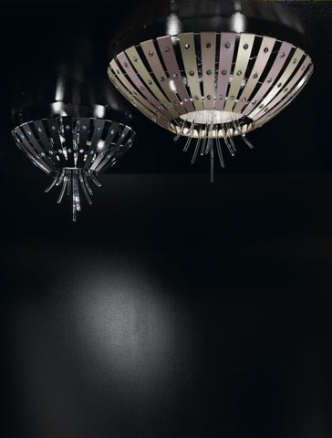 Modern Metallic Ceiling Light with Murano Glass Sticks