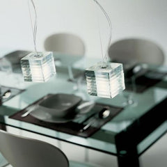 Modern clear Murano glass and chrome island light