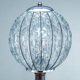 Murano crystallo glass and antique bronze garden bollard light