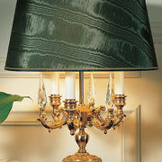 Classic table light with green malachite detail and crystals