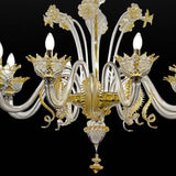 Crystal clear Murano glass chandelier with golden decoration