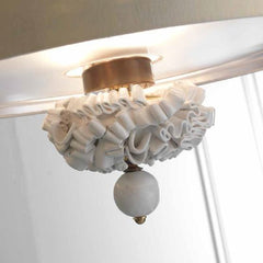 Chic 70cm pendant lamp with majolica curls & silk linen shade