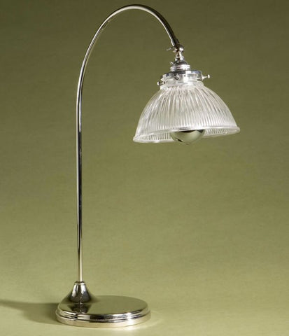Industrial chic desk lamp with ribbed glass shade