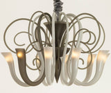 Modern smoke & white blown glass chandelier with 10 lights