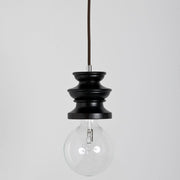 Modern Black Wenge Finished Chess Rook Suspension Ceiling Light