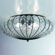 Transparent Murano crystal flush fitting ceiling light