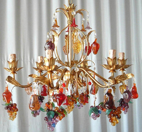 Red, orange and amethyst Venetian glass fruit chandelier